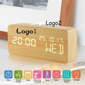Wood Alarm LED Clock